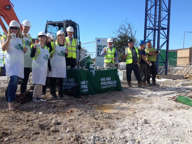 World's Biggest Coffee Morning held at the building site in kemp Town, Brigthon.