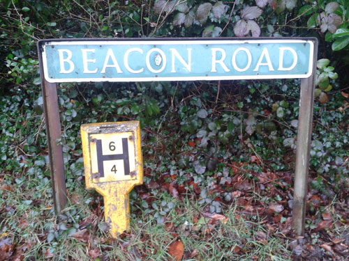 Beacon Road in Crowborough Fire Hydrant Sign