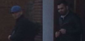 CCTV photos show two men police want to talk to, seen leaving a shop in Bexhill.