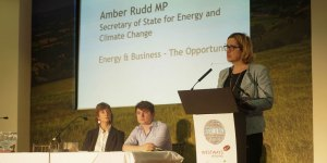 BEST4Biz conference Amber Rudd, Hastings and Rye MP and secretary of state for energy and climate change, and Josh Valman, founder of design and manufacturing firm RPD International.