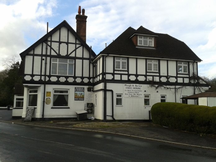 Plough and Horses pub Walshes Road in Crowborough (side view Feb 2016)