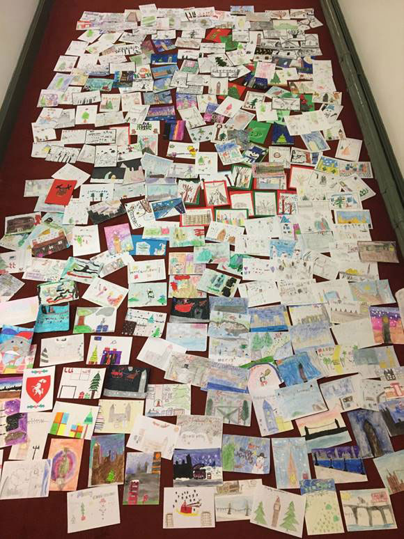 The entries to Nus' Christmas card design competition.