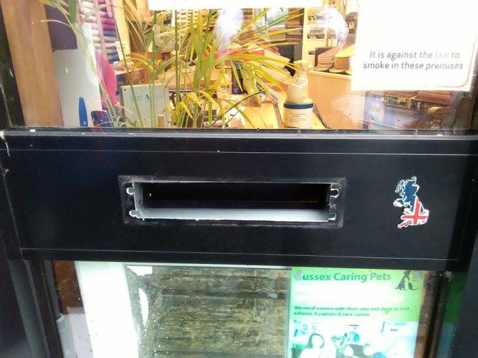 Thirwell Carpets and Flooring Chapel Green Crowborough charity box theft