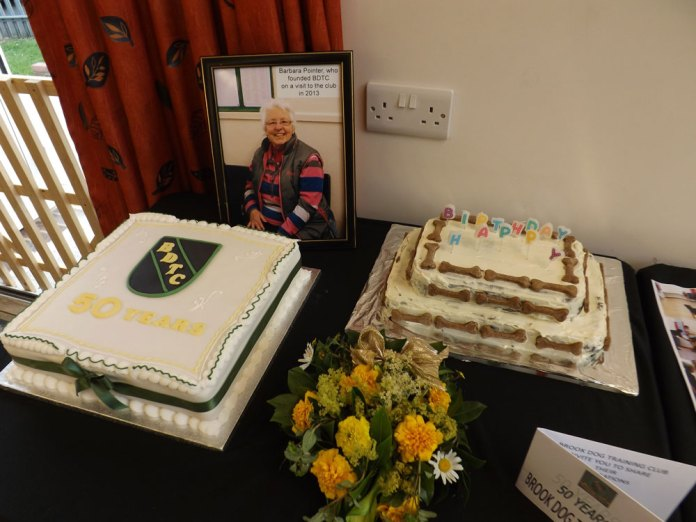 Cake for the dog and their handlers to celebrate 50 years of Jarvis Brook Dog Training