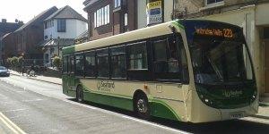 228 229 bus service Seaford & District Crowborough to Tunbridge Wells. Photographed on Crowborough High Street