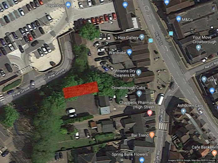 Approx location of the proposed Town Houses behind Johnsons Dry Cleaners in Crowborough