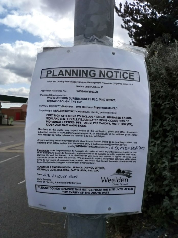 Planning Notice WD/2019/1907/AI Morrisons Supermarket erection of 9 signs
