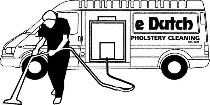 Double Dutch Cleaning Services logo graphic of van mounted carpet cleaner