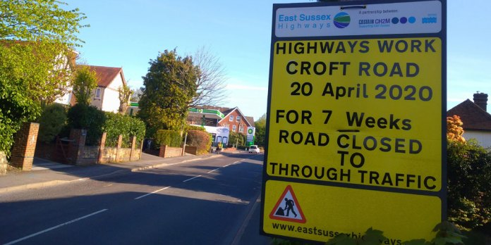 Highways Work Croft Road 20th April 2020 for 7 weeks. Road closed to through traffic.