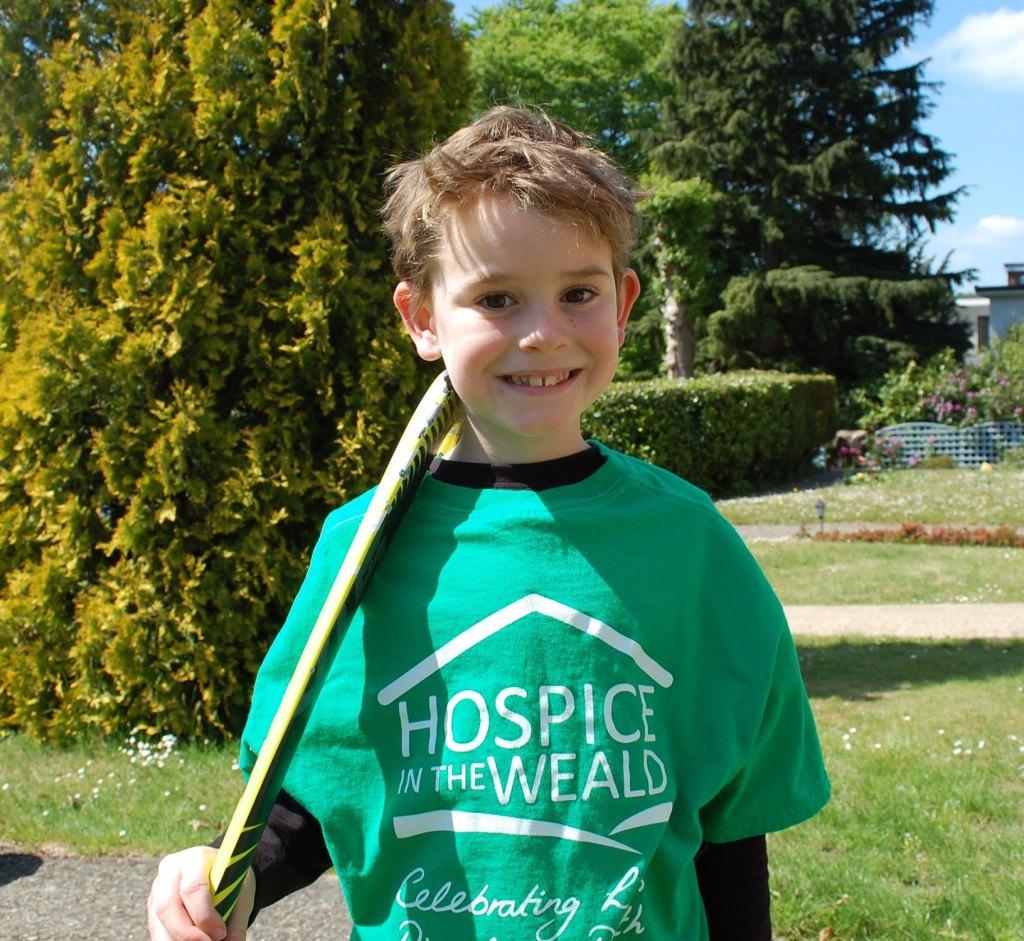 Eddie Dennett in a green Hospice in the Weald T-shirt