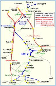 Brighton Main Line 2 map showing proposed route and indicating Sussex, Kent and London phases of the proposal.