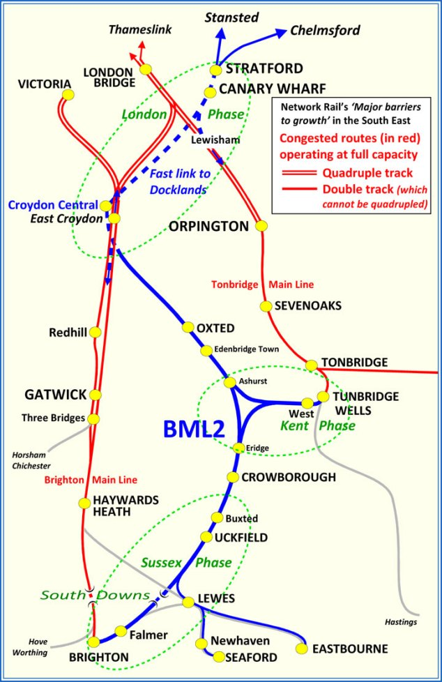 Brighton Main Line 2 route map - showing the Sussex, Kent and London phases of the scheme.