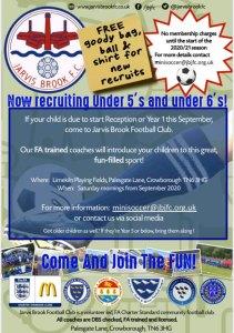 Jarvis Brook Mini Soccer Poster 2020/21 Season