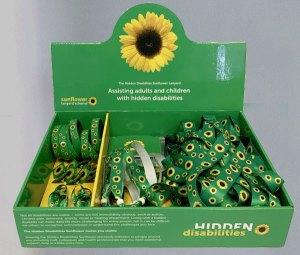 Display box of Hidden Disabilities Sunflower Lanyards