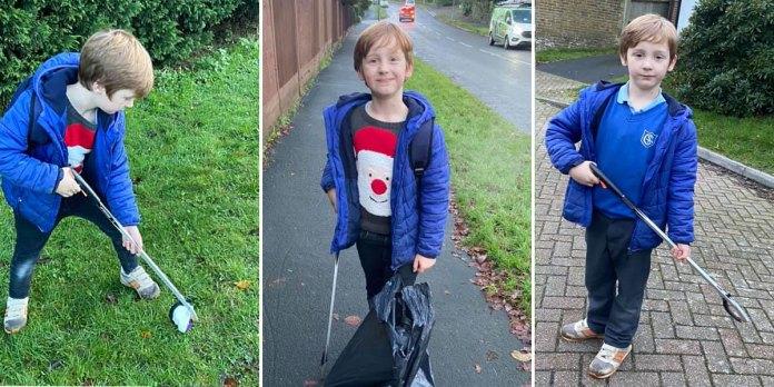 Alex Kirtkness-O'Boyle litter picker aged 6 Crowborough