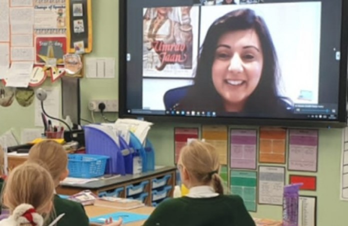 Nus Ghani Wealden MP on WhatsApp with Ashdown Primary School in Crowborough.
