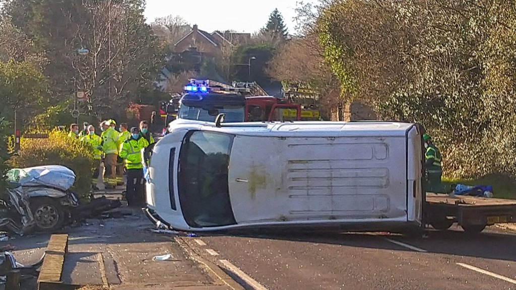 Collision between a van and a car on A26 Eridge Road in Crowborough