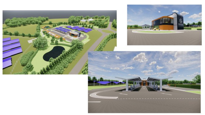 Illustrations of the solar powered electric vehicle (EV) charging station submitted with the planning application.