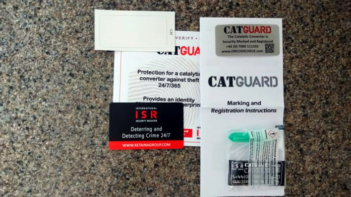 Contents of Catalytic Convertor Marking Kit -   2x Window Warning Stickers Metal Etching Compound Membership Card Applicator Instructions