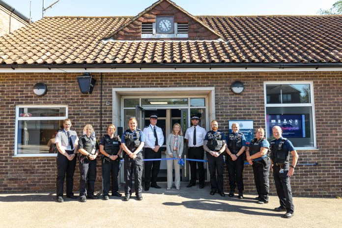 PCC Katy Bourne with the new neighbourhood policing team, in front of the new Crowborough Police Station.