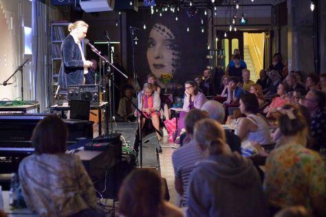 Poet Olli-Pekka Tennilä and full booked Lavaklubi in the Evening of experimental literature feat. Tuli&Savu