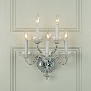 Crowder Designs Clear Sconce Collection | 5 Arm