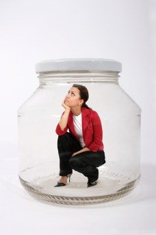 thinking woman in jar