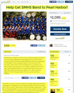 Shellie Cooper Help Get SMHS Band to Pearl Harbor!