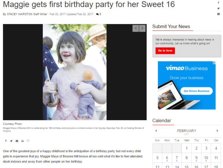 Maggie gets first birthday party for her Sweet 16