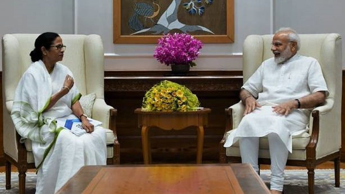 """Chief Minister"" Mamata Banerjee meets ""Prime Minister"" Narendra Modi"