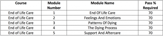 End of Life care course modules