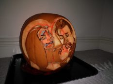 The carving is a negative image