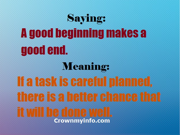 a good beginning makes a good ending Free essays on a good beginning makes a good ending get help with your writing 1 through 30.