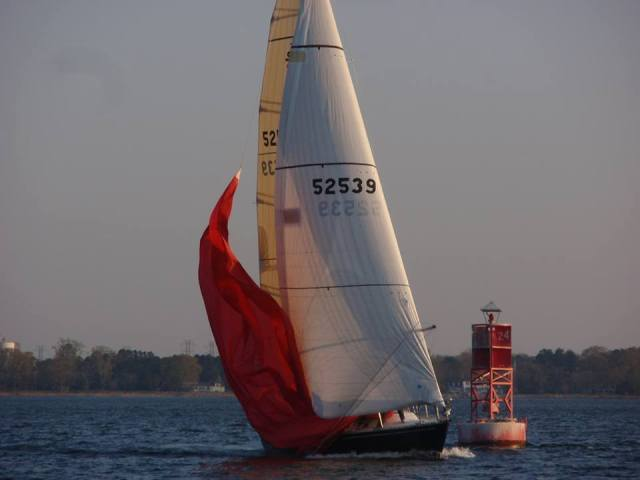 York River Yacht Club drops the chute at the mark on their Weds night race series