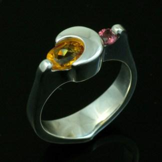 Citrine and Garnet - Crescent Moon Ring