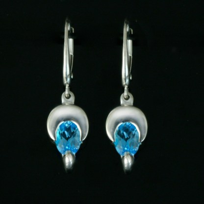 Blue Topaz Crescent Moon Earrings
