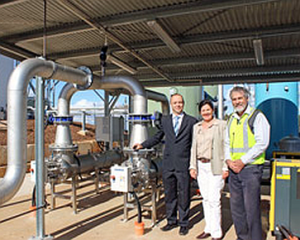 UGL Engineering Business Development Manager Morris Taylor (left), Cr Nancy Sommerfield and TRC Water Project Services principal engineer Will Higgins inspecting the new Pechey Water Treatment Plant.