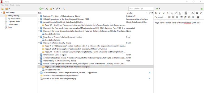 Zotero program bibliography of family history