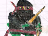 childhood drawing of frog ninja