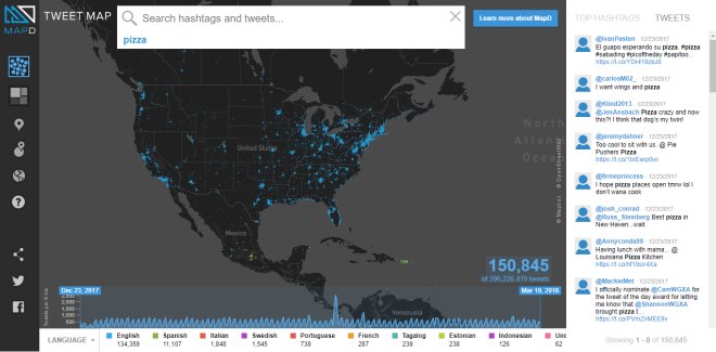 map of tweets about pizza
