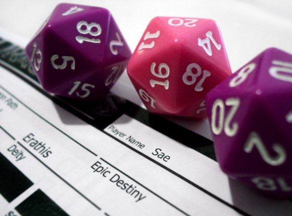 D20 dice in random plot stories