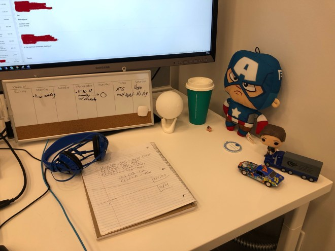workstation with personal decorations