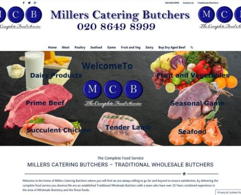 Millers Catering Butchers - Website Frontpage