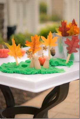 A fall themed play dough tray.