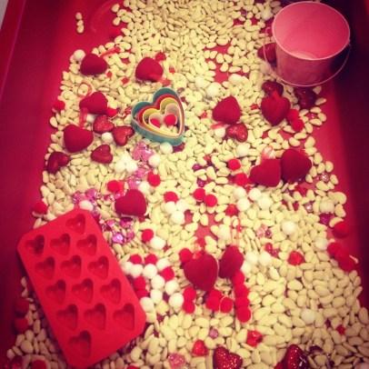 Valentine's Day bean and sensory bin