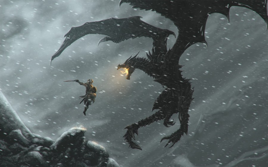 The Dragonborn leaping through the air towards a dragon.