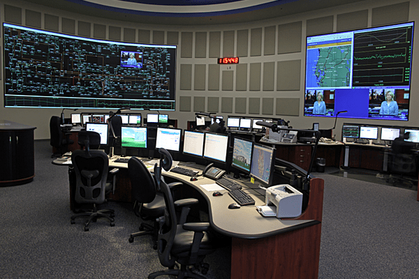 Control Room with ergonomic functionality and large video display walls