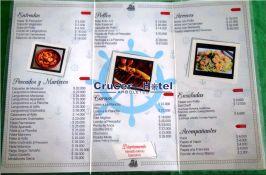 el menu de crucero hotel