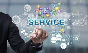 Businessman hand chooses Service
