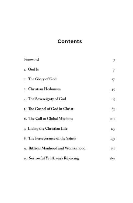 Astonished by God, Table of Contents